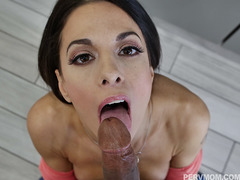 Eva Long gave stepson a sloppy blowjob for breakfast