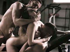 College babe double fucked by 2 hot studs