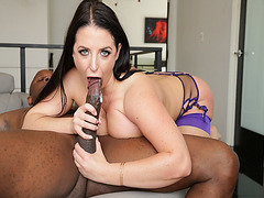 Angela White gives a black monster cock a hot blowjob