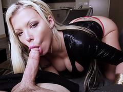 Naughty MILF stepmother tastes her stepsons big cock