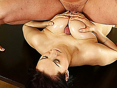 extreme sexy milf lea magic gets rough oiled big natural breast fucked
