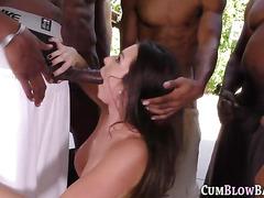 Teenager sucking big black cocks