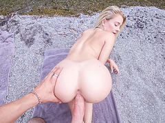 Fucking hot girlfriend in the nature by river
