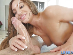 Wet and messy brunette gets pounded