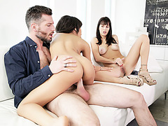 Wife gets horny watching her guy fucking his whore