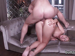 Perfect semi-nude tight sweetie gets pounded in spread anal