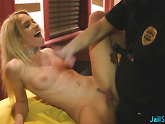 Skinny hot bitch fucked hard by officer