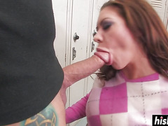 Stiff dick barely fits in her