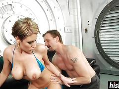 Huge cock destroys her tight ass