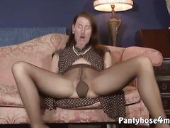 Slutty housewife strips pantyhose and masturbates