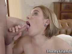 Busty blonde grandmother gets pussy licked