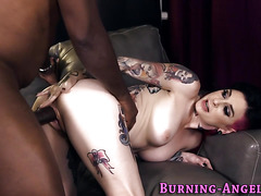 Tattooed babe ass rides bbc