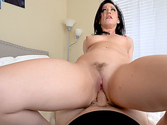 Cougar MILF stepmom rides his big dick like a nympho
