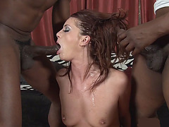 Skinny redhead MILF housewife pleases a bunch of BBCs