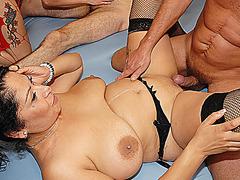 two sexy german girls extreme deep throat lederhosen swinger party banged