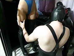 Sexy domina toying her pink pussy