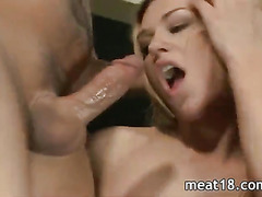 Two sluts stroking and fucking a cock