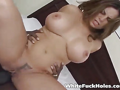 Busty round girl gets black cock hard