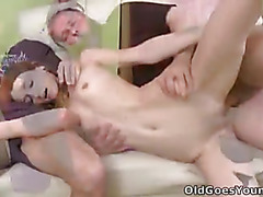 Bearded old man loves to suck on Nina's nipples until she gets nice and wet for him