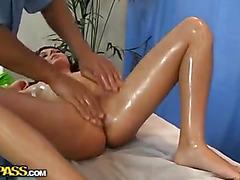 Brunette doing massage and masturbate pussy