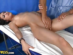Massage with hot squirt young brunette