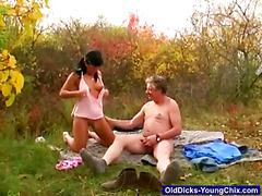 Old Man Gets Pinic Blowjob