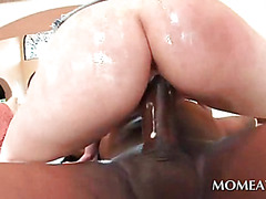 Seducing blonde riding monster black dick