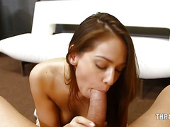 Perfect blowjob and deepthroat of nasty schoolgirl