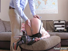 Bdsm blonde ass fucked on casting