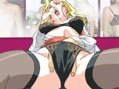Lingeris office girl hentai gets squeezed her bigtits and fingered pussy