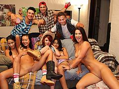 Sex freak hot girls having a huge orgy