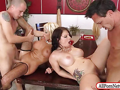 Two married couples amazing foursome sex