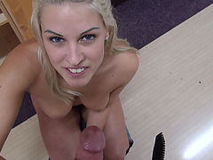 Super hot blonde amateur Blanche gets paid for sex in public