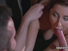 Brunette creampied after deep fuck