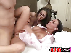 April and her stepmom take turns getting their pussies pounded.