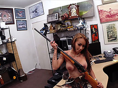 Latina pawns her rifle for some cash but needs more so includes her pussy