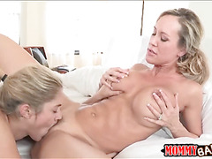 Teen slut Lia Lor and busty milf Brandi Love fucked on turns