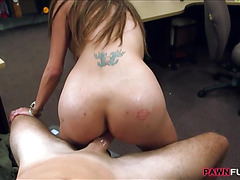Nasty whore pussy banged in the pawnshop
