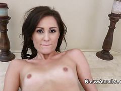 Petitie babe gets huge cock up her ass