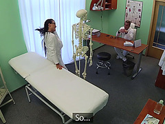Damn hot brunette trainee gets trained by doctors big cock pounding her pussy