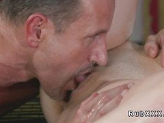 Masseur fucks and licks busty brunette