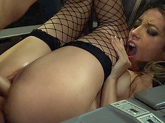 Slutty flight attendant Jenna Haze anal