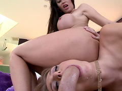 Eva Karera and Natalia Starr sharing a big fat cock