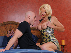 Busty Rhylee Richards gets a good screwing wearing her camo lingerie