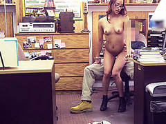 Stunning brunette paid to gets pussy fucked for a good price in the pawnshop