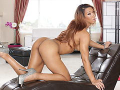 Sophia Fiores ass gets filled with oil and she gets hardcore anal fucking