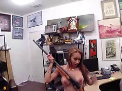 Busty Chick gets big cash for sex inside of the pawn shop office