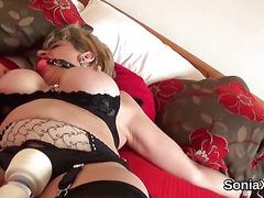 Unfaithful british milf lady sonia showcases her huge titties