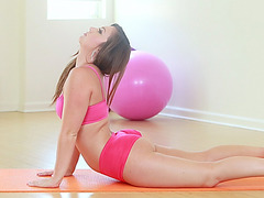 Yoga babe Maddys tight pussy gets pounded by a stiff cock