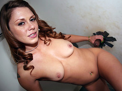 Scarlett Wild Sucks Black Gloryhole Cock